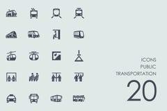 Grupo de ícones do transporte público Imagens de Stock