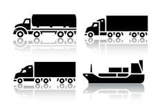 Grupo de ícones do transporte - transporte de frete Foto de Stock Royalty Free