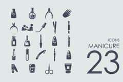 Grupo de ícones do tratamento de mãos ilustração royalty free