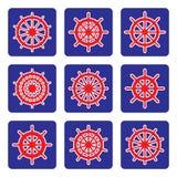 Grupo de ícones do vetor da roda do navio no fundo azul Imagem de Stock Royalty Free
