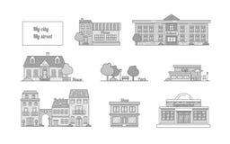 Grupo de ícones do vetor das construções, cafés, escola, casa, loja, SU ilustração royalty free