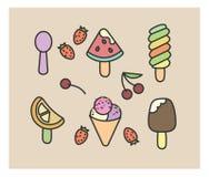 Grupo de ícones do vetor: gelado, morango, cereja, decoração, toping, melancia, colher Fotografia de Stock