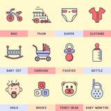 Grupo de ícones do vetor no estilo liso Imagens de Stock Royalty Free