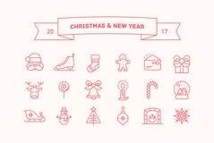 Grupo de ícones do vetor pelo Natal e o ano novo Fotos de Stock Royalty Free