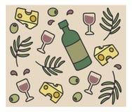 Grupo de ícones do vetor, vinho da garrafa, azeitonas, queijo, Fotografia de Stock Royalty Free