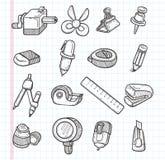 Grupo de ícones dos artigos de papelaria Fotografia de Stock