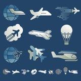 Grupo de ícones dos aviões Imagens de Stock Royalty Free