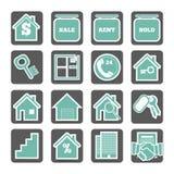 Grupo de ícones dos bens imobiliários Fotografia de Stock