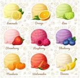 Grupo de ícones dos desenhos animados isolados no fundo branco Colheres do gelado com sabores diferentes do fruto e da baga Imagem de Stock