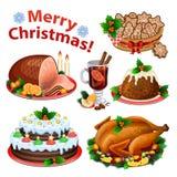 Grupo de ícones dos desenhos animados para o jantar de Natal Imagem de Stock