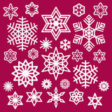 Grupo de ícones dos flocos de neve do White Christmas no vinho Fotos de Stock