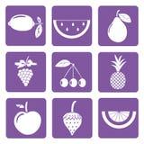 Grupo de 9 ícones dos frutos brancos Fotografia de Stock