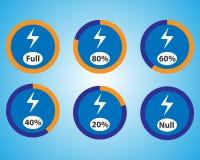 Grupo de ícones dos indicadores de quantidade da energia ilustração royalty free