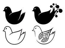 Grupo de ícones dos pássaros do doodle dos desenhos animados ilustração do vetor