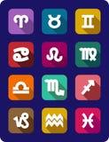 Grupo de ícones dos sinais do zodíaco Fotos de Stock Royalty Free