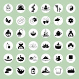 Grupo de ícones dos termas e da massagem Imagens de Stock