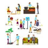 Grupo de ícones dos voluntários isolados, projeto liso do vetor do estilo ilustração royalty free