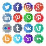 grupo 16 de ícones e de botões sociais arredondados dos meios ilustração do vetor