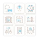 Grupo de ícones e de conceitos comuns do mapa do vetor na mono linha estilo fina ilustração stock