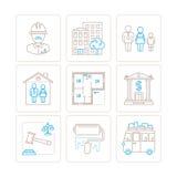 Grupo de ícones e de conceitos dos bens imobiliários do vetor na mono linha estilo fina ilustração do vetor