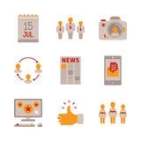 Grupo de ícones e de conceitos sociais dos trabalhos em rede do vetor no estilo liso Foto de Stock Royalty Free