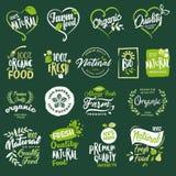 Grupo de ícones e de elementos para o alimento biológico e a bebida, restaurante, despensa, produtos naturais, alimentos frescos  ilustração royalty free