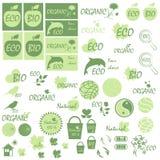 Grupo de ícones e de logotipos no tema de produtos naturais Imagens de Stock