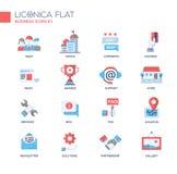 Grupo de ícones e de pictograma lisos do projeto do escritório para negócios moderno Imagem de Stock Royalty Free