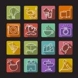 Grupo de ícones em um tema do turista Fotografia de Stock Royalty Free