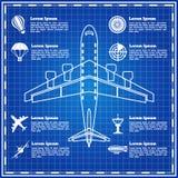 Grupo de ícones em uma aviação do tema Imagens de Stock Royalty Free