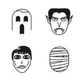 Grupo de ícones engraçados dos povos do Dia das Bruxas ilustração do vetor