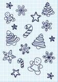Grupo de ícones esboçados desenhados à mão da garatuja do Natal Ilustração do vetor do Xmas Textura (de papel) enrugada cartoons Imagens de Stock