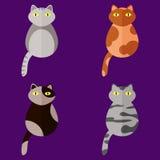 Grupo de ícones estilizados no formulário dos gatos de raças diferentes com olhos amarelos Estilo liso Fotos de Stock