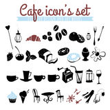 Grupo de ícones: feijões de café, latte, cappuccino, tortas, filhóses, Fotografia de Stock