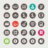 Grupo de ícones financeiros e do negócio Fotos de Stock