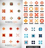 Grupo de ícones geométricos simétricos abstratos coloridos Imagens de Stock Royalty Free
