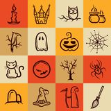 Grupo de ícones gráficos retros de Dia das Bruxas Imagem de Stock Royalty Free