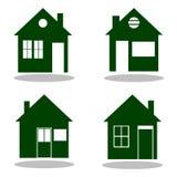 Grupo de ícones home verdes com sombra Imagens de Stock