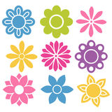 Grupo de ícones isolados coloridos das flores Fotografia de Stock Royalty Free