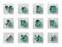 Grupo de ícones isolados do zodíaco 3D para a Web e a cópia Fotografia de Stock
