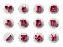 Grupo de ícones isolados do zodíaco 3D para a Web e a cópia ilustração stock