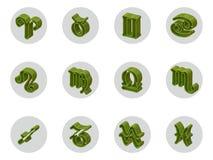 Grupo de ícones isolados do zodíaco 3D para a Web e a cópia Fotos de Stock