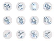 Grupo de ícones isolados do zodíaco 3D para a Web e a cópia ilustração royalty free