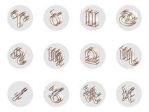 Grupo de ícones isolados do zodíaco 3D para a Web e a cópia Foto de Stock