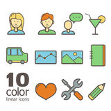 Grupo de ícones lineares da cor Foto de Stock Royalty Free