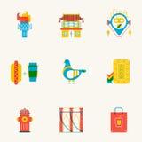 Grupo de ícones lineares de New York Imagem de Stock Royalty Free