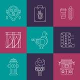 Grupo de ícones lineares de New York Fotografia de Stock