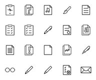 Grupo de ícones lineares de vários tipos dos originais, da escrita e de acessórios artísticos Fotos de Stock