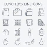 Grupo de ícones lineares do almoço Fotografia de Stock Royalty Free