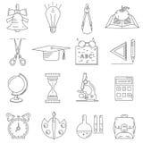 Grupo de ícones lineares sobre a escola e a educação Imagens de Stock